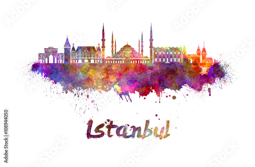 Poster Istanbul skyline in watercolor