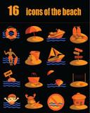 set 16 bright beach icons on black background
