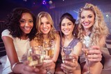 Pretty girls holding champagne glass