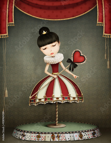 Conceptual illustration of girl  fairy queen with  carousel.  - 108961439