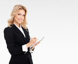 businesswoman with clipboard writing
