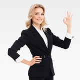 businesswoman showing okay gesture