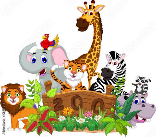 Fotobehang Zoo zoo and the animal cartoon