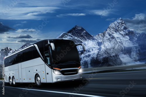 Bus in the mountains Poster