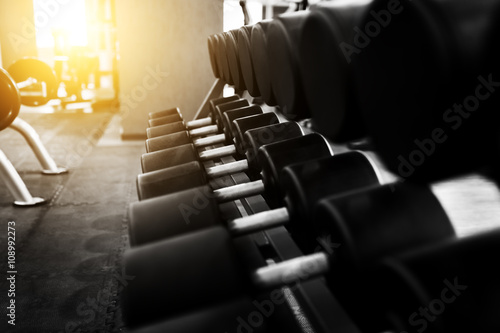 Wall mural Metal dumbbells lying on gym fitness club