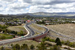 Prescott, Arizona, USA - April 25, 2016 View of highway 69 intersecting highway 89 in Prescott, Arizona with mountain and town in the background