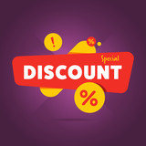 Special discount advertisement promo banner flat abstract isolated vector illustration