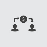 Money transfer icon illustration