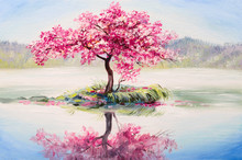 "Постер, картина, фотообои ""oil painting landscape, oriental cherry tree, sakura on the lake"""