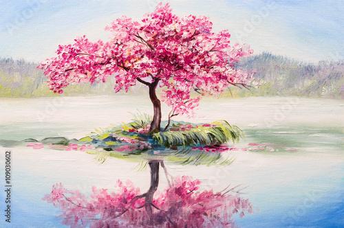 Zdjęcia na płótnie, fototapety na wymiar, obrazy na ścianę : oil painting landscape, oriental cherry tree, sakura on the lake