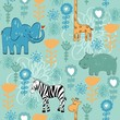 vector hand draw seamless pattern with animals