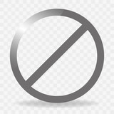 Blank ban. Sign ban. Gray circle with shadow ban