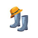 Rubber Boots And Hat