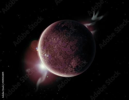Poster Roter planet im weltall mit aura und sternen