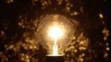 A vintage ball-shaped light bulb, creating a beautiful moving bokeh on the background.