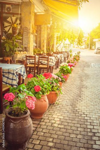 Beautiful greek cafe terrace in Heraklion, Crete