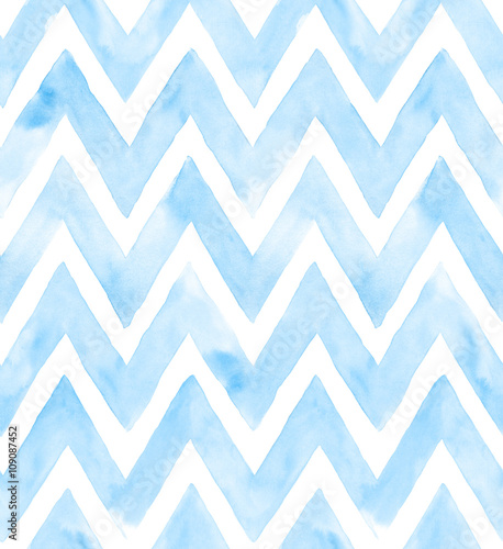 Chevron of blue color on white background. Watercolor seamless pattern for fabric - 109087452