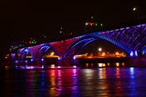 View at night of the Peace Bridge
