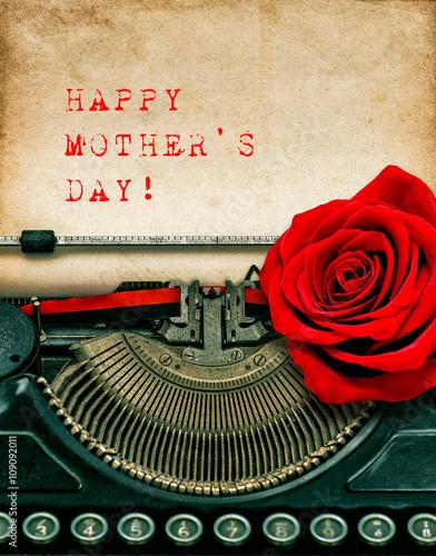 Zdjęcia na płótnie, fototapety, obrazy : Vintage typewriter red rose flower. Happy Mothers Day