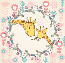Stylish floral background with cartoon giraffe in light colors.