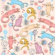 Vector hand drawn seamless pattern with cats