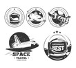 Astronautics logo set.  Rocket space labels, astronaut badges and space travel emblems