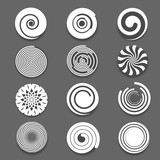 Motion spiral or swirl vector icons. Spinning white spiral and twist spiral signs, white spiral elements - 109100279