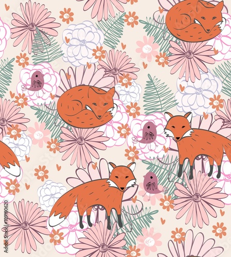 Cotton fabric Stylish floral background with cartoon fox  in light colors.