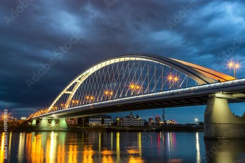 Poster Apollo bridge in the evening in Bratislava. Slovakia