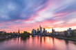Frankfurt skyline and Main river at sunset
