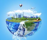 Eco concept. City of future. Solar energy town, wind energy. Sav