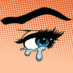 Woman eyes tears crying