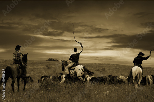 Three cowboys drive herd of horses , toning, vignetting Poster
