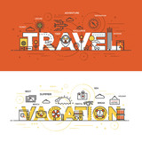 Flat design line concept banner - Travel And Vacation