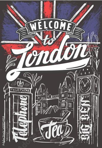 Zdjęcia na płótnie, fototapety, obrazy : great britain flag and london