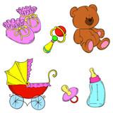 Children set vector. Booties, toys, rattle, stroller, bottle, nipple