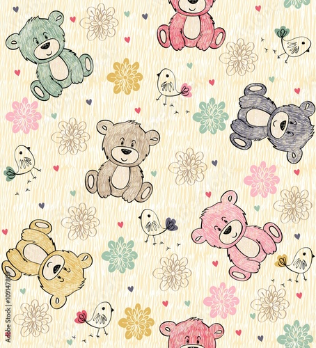 Cute hand draw seamless pattern with cartoon bear - 109147809