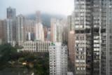 city buildings on a rainy day