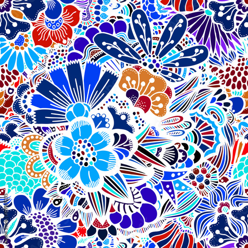 Cotton fabric Flowers seamless pattern