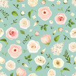 Vector seamless pattern with pink and white roses, lisianthuses, ranunculus and lilac flowers and green leaves on a celadon background.