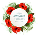 Tropical leaves and flowers with a summer holidays banner. Vecto