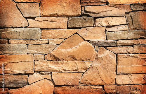 Stone wall texture or background. Brown color