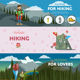 Hiking and adventure banners. Weekend journey. Vector illustration. Activity life. Outdoor leisure. House on wheels. Forest, mountain, backpack.