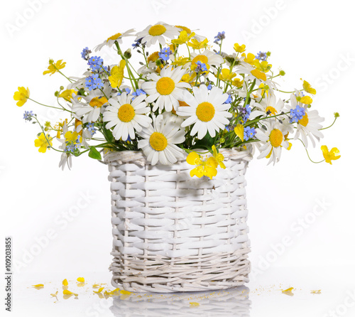 Plakat basket with spring flowers