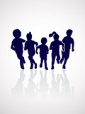 Fototapety Group of children running , Front view graphic vector.