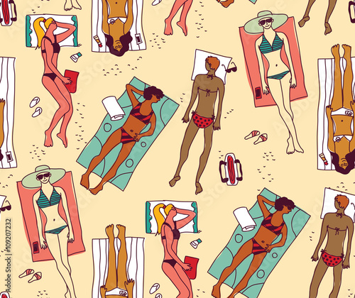 Cotton fabric Group women beach sun summer rest color seamless pattern