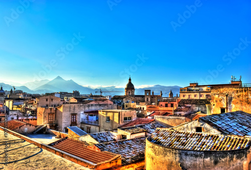 Spoed canvasdoek 2cm dik Palermo View of Palermo in HDR