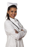 young beautiful nurse with arms folded