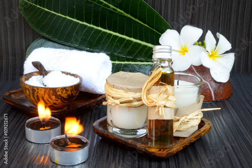 Spa coconut products on dark wooden background Poster