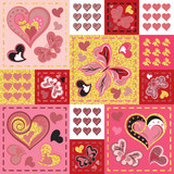 Patchwork colorful with hearts and butterfly. Seamless pattern. Golden glittering elements. Scrapbooking series.